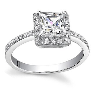 18k White Gold 3/4ct TDW Princess Diamond Halo Engagement Ring (H, SI1-SI2)