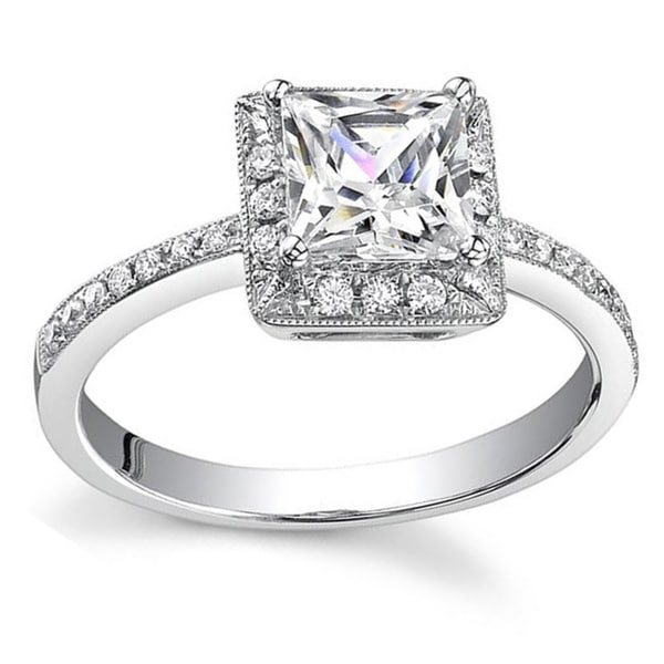 18k White Gold 3/4ct TDW Princess Diamond Halo Engagement Ring (H, SI1-SI2)