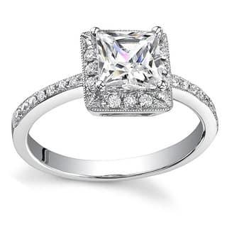 18k White Gold 3/4ct TDW Princess Diamond Halo Engagement Ring (H, SI1-SI2)|https://ak1.ostkcdn.com/images/products/5239936/P13063364.jpg?impolicy=medium