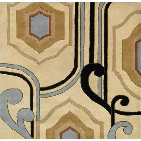 Alliyah Handmade Cream New Zealand Blend Wool Area Rug - 6' x 6'