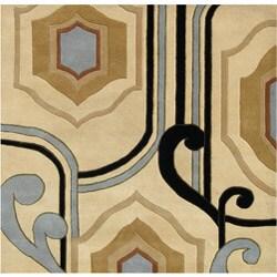 Alliyah Handmade Cream New Zealand Blend Wool Area Rug (6' x 6')