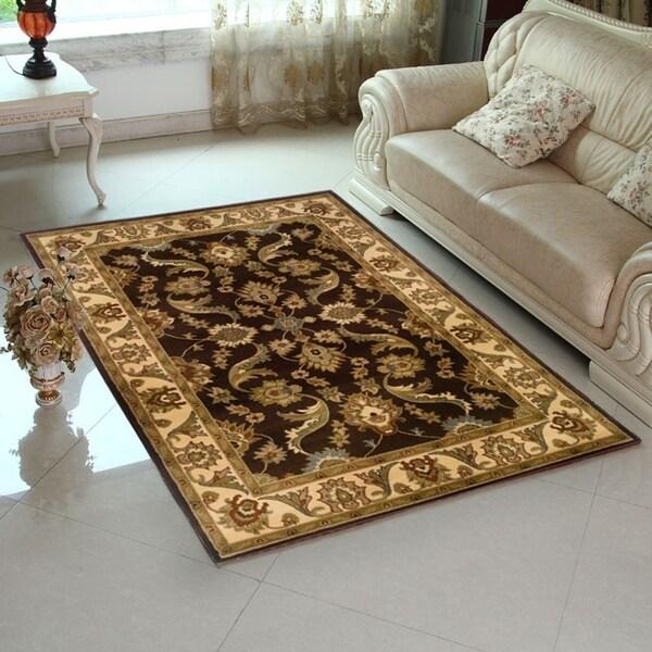 LR Home Brown / Cream Indoor Floral Rug (9' x 12') - 9' x 12'