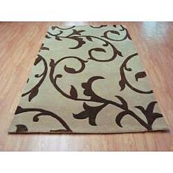 Alliyah Handmade Beige New Zealand Blend Wool Rug - Thumbnail 1