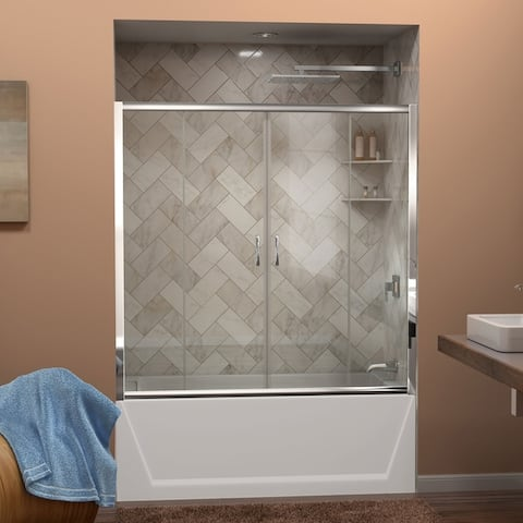 "DreamLine Visions 56-60 in. W x 58 in. H Semi-Frameless Sliding Tub Door - 56"" - 60"" W"