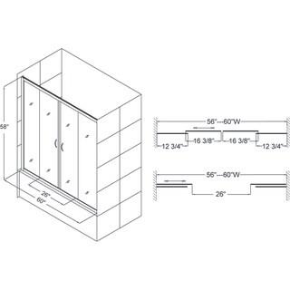 DreamLine Visions 56-60x58-inch Frameless Sliding Tub Door
