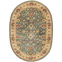 Safavieh Handmade Jaipur Blue/ Beige Wool Rug (7'6 x 9'6 Oval)