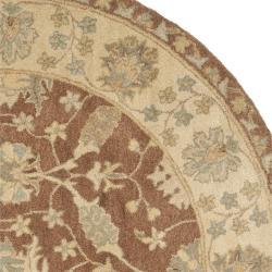 Safavieh Handmade Farahan Brown/ Taupe Wool Rug (3'6 Round) - Thumbnail 1