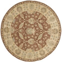 "Safavieh Handmade Farahan Brown/ Taupe Wool Rug - 3'6"" x 3'6"" round - Thumbnail 0"