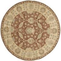 "Safavieh Handmade Farahan Brown/ Taupe Wool Rug - 3'6"" x 3'6"" round"