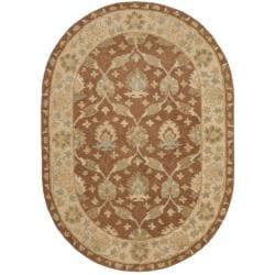 Safavieh Handmade Farahan Brown/ Taupe Wool Rug (7'6 x 9'6 Oval)