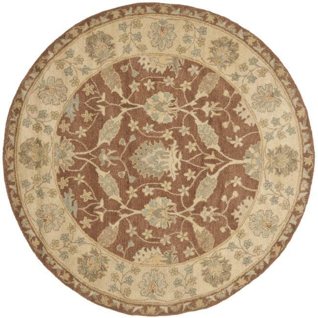 Safavieh Handmade Farahan Brown/ Taupe Wool Rug (8' Round)