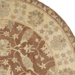 Safavieh Handmade Farahan Brown/ Taupe Wool Rug (8' Round) - Thumbnail 1