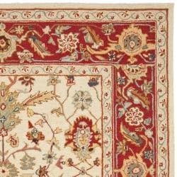 Safavieh Hand-hooked Tabriz Ivory/ Red Wool Rug (7'9 x 9'9) - Thumbnail 1