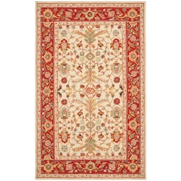 "Safavieh Hand-hooked Tabriz Ivory/ Red Wool Rug - 7'9"" x 9'9"""
