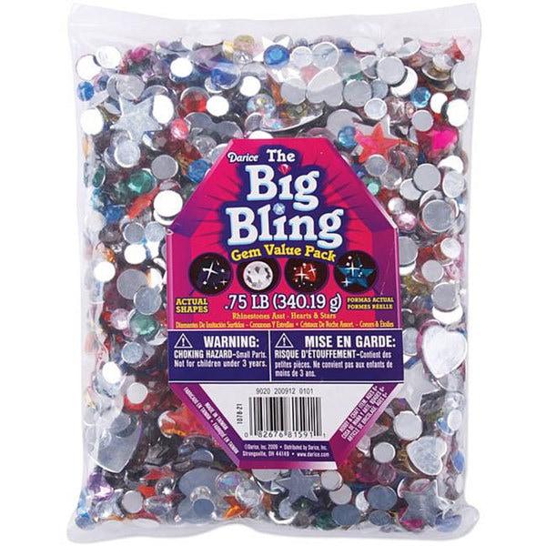 Hearts/Stars/Round Plastic Rhinestone Assortment (0.75-pounds)