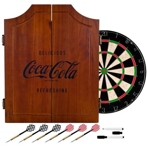 Coca Cola Collectible Vintage Wooden Dart Board Cabinet