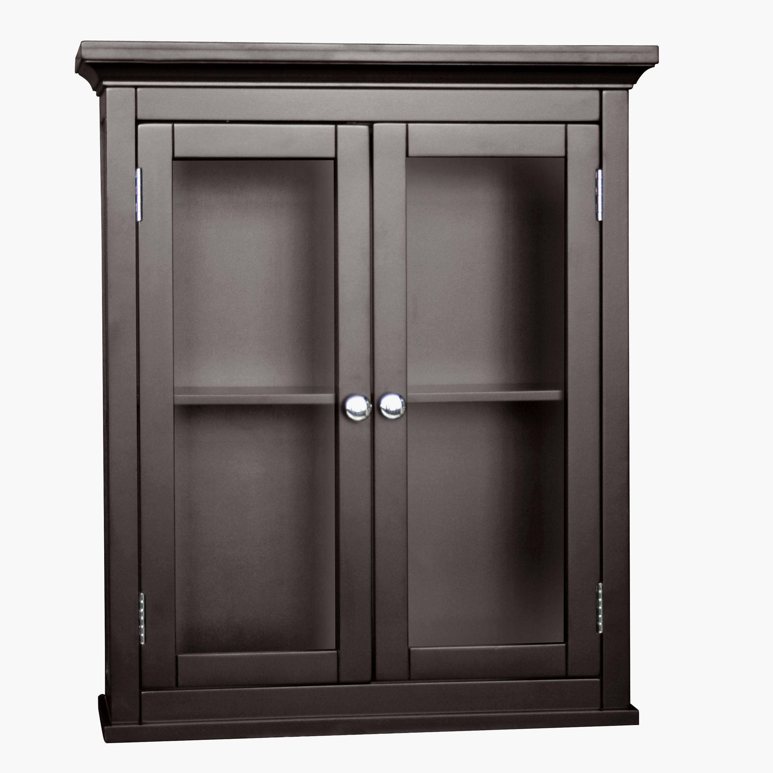 Glass door cabinet bathroom - Classique Espresso 2 Door Wall Cabinet By Elegant Home Fashions