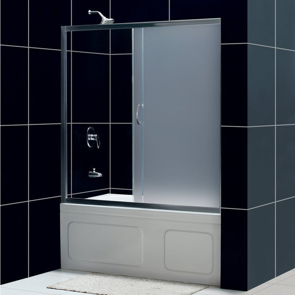 DreamLine Infinity 60-inch Frosted Glass Tub Sliding Shower Door