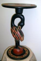 Sesse Wood Sankofa Bird Colorful Lamp Table (Ghana)