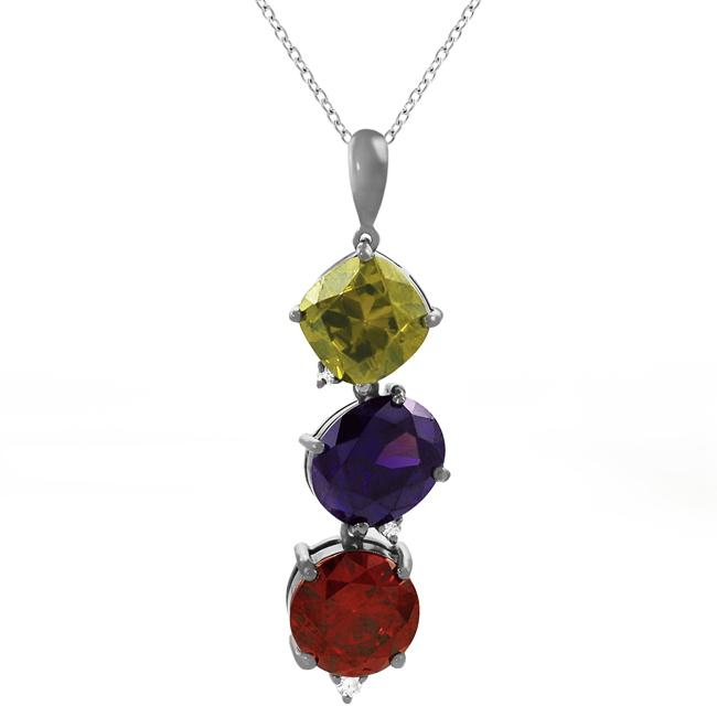 Journee Collection  Sterling Silver Three Cubic Zirconia Stone Necklace