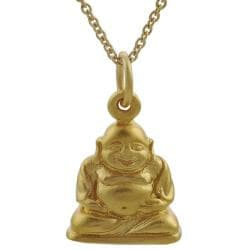 Journee Collection  Sterling Silver Vermeil-style Buddha Necklace