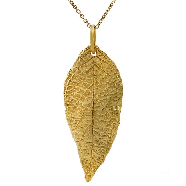 Journee Collection Sterling Silver Vermeil-style Leaf Necklace