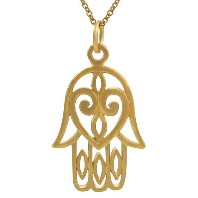 Journee Sterling Silver Vermeil-style Hamsa Hand Necklace