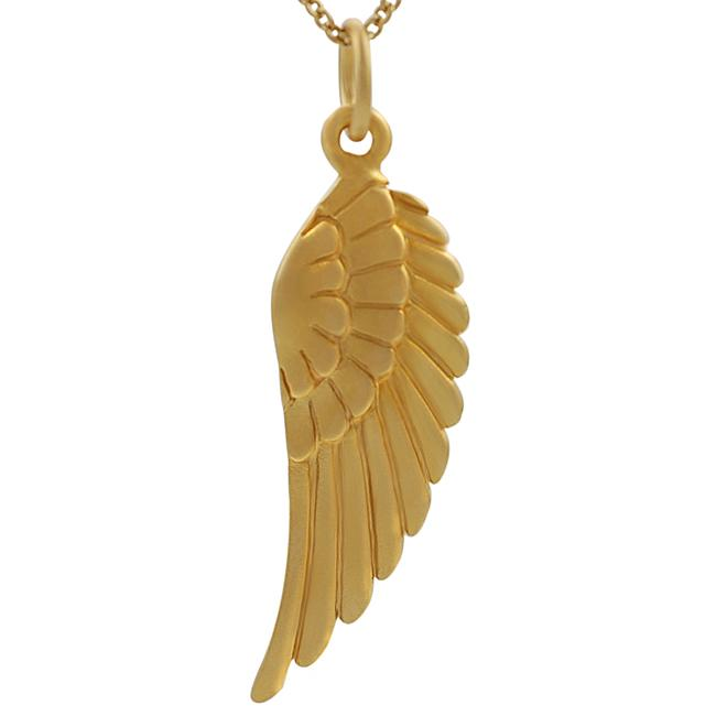 Journee Collection Sterling Silver Vermeil-style Angel Wing Necklace