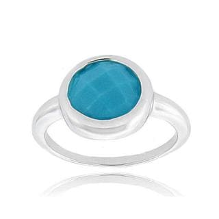 Dolce Giavonna Sterling Silver Synthetic Turquoise Round Ring