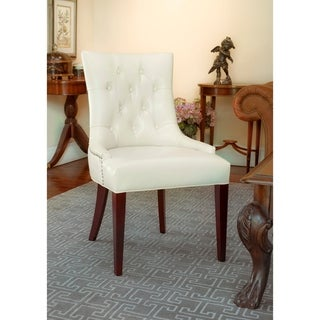 """Link to Safavieh Dining Nimes Cream Leather Dining Chair - 22"""" x 23.8"""" x 36.4"""" Similar Items in Kitchen & Dining Room Chairs"""