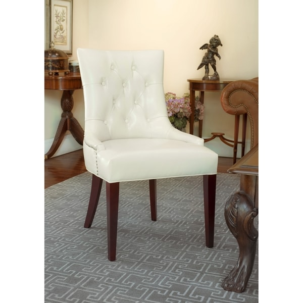 Safavieh En Vogue Dining Nimes Cream Leather Side Chair