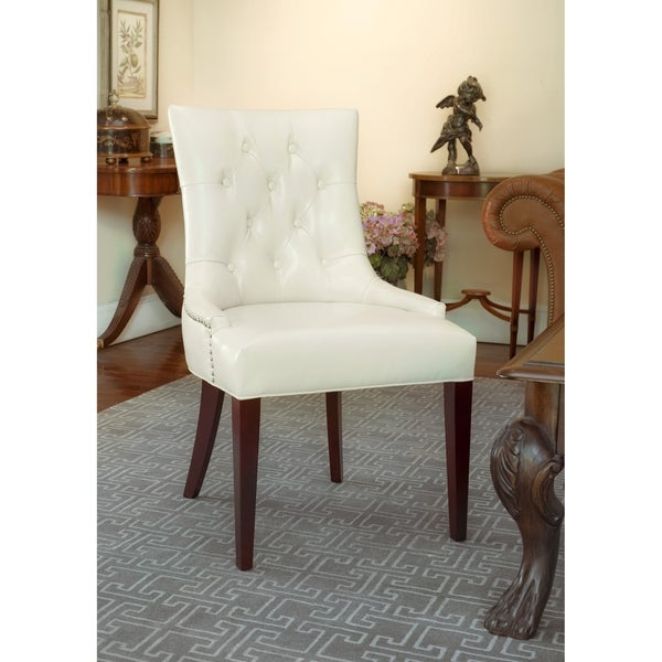 Safavieh En Vogue Dining Nimes Cream Leather Dining Chair