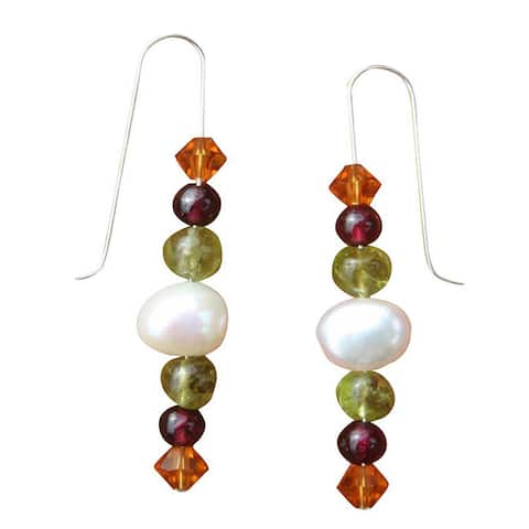 Handmade Sterling Silver or 14k Goldfill FW Pearl and Gemstone Earrings (7 mm)