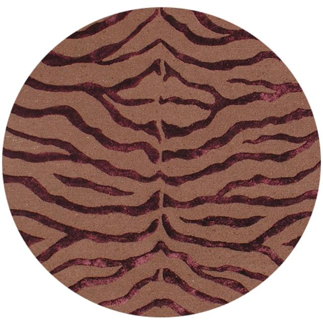 Shop NuLOOM Handmade Zebra Brown/ Burgundy Wool/ Viscose
