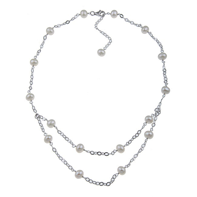 Kabella Sterling Silver White Freshwater Pearl Necklace - Thumbnail 0