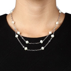 Kabella Sterling Silver White Freshwater Pearl Necklace
