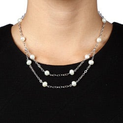Kabella Sterling Silver White Freshwater Pearl Necklace - Thumbnail 2
