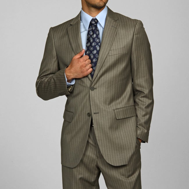 Men's Light Olive Pinstripe 2-button Suit - Thumbnail 0