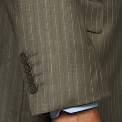 Men's Light Olive Pinstripe 2-button Suit - Thumbnail 1