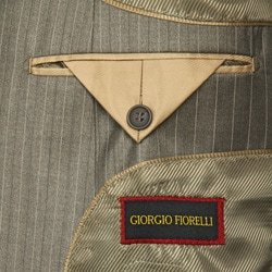 Men's Light Olive Pinstripe 2-button Suit - Thumbnail 2