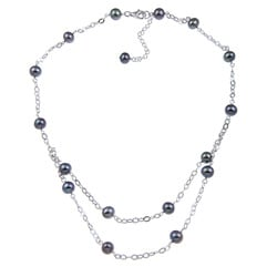 Kabella Sterling Silver Black Freshwater Pearl Necklace (7-8 mm)
