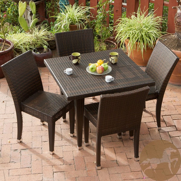 All Weather Wicker 5 piece Outdoor Dining Set by Christopher Knight Home Fr