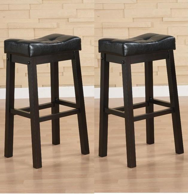 Black 30-inch Bicast Leather Counter-height Saddle Bar Stools (Set of 2)