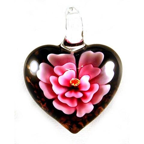 Murano Inspired Glass Pink Flower Heart Pendant