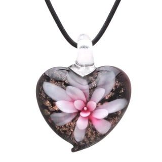 Black/Gold/Pink Hand-crafted Murano-style Glass Flower Heart Pendant