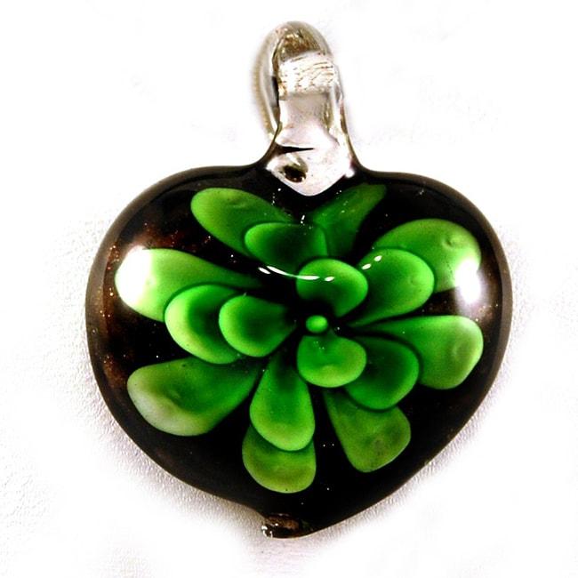 Murano-inspired Handmade Green Glass Flower Heart Pendant (USA)