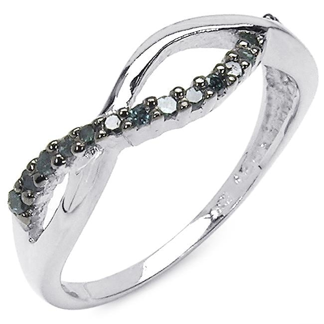 Malaika Sterling Silver 1/6ct TDW Blue Diamond Crossover Ring