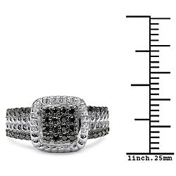 Malaika Sterling Silver 3/8ct TDW Black Diamond Fashion Cocktail Ring
