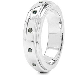 Malaika Sterling Silver 1/6ct TDW Blue Diamond Ring - Thumbnail 1