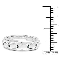 Malaika Sterling Silver 1/6ct TDW Blue Diamond Ring - Thumbnail 2
